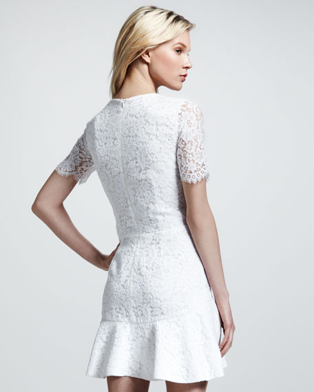 Bianca Sheer-Sleeve Lace Flounce Dress