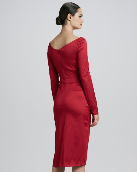 Long-Sleeve Ruched Cocktail Dress
