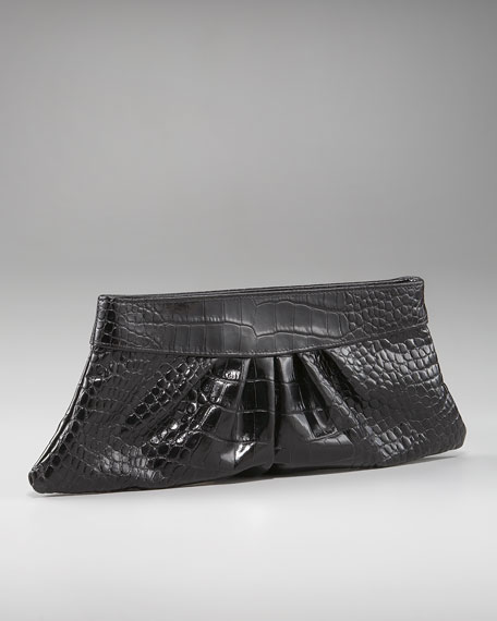 Louise Croc-Embossed Clutch