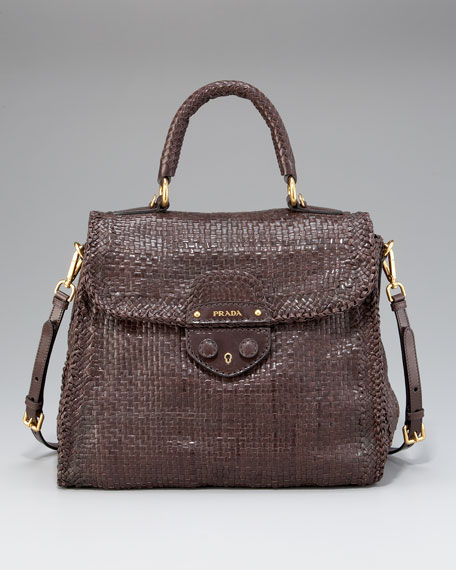 Madras Woven Top-Handle Satchel