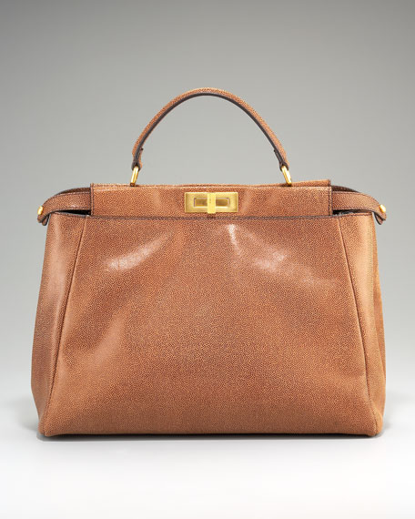 Peekaboo Leather Satchel, Brown