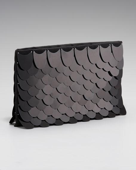 Prada Pailette-Stitched Flat Satin Clutch