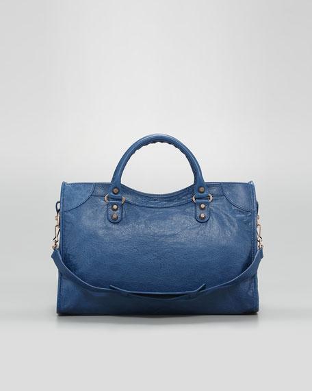 Giant 12 Rose Golden City Bag, Blue Cobalt