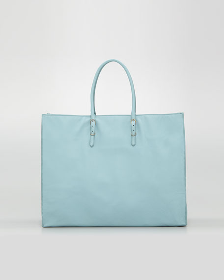 Papier A4 Leather Tote Bag, Blue Azur