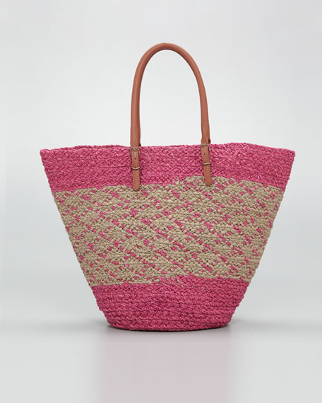 Panier Basket Tote Bag, Rose/Beige