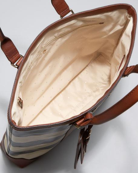 dama striped patent leather tote
