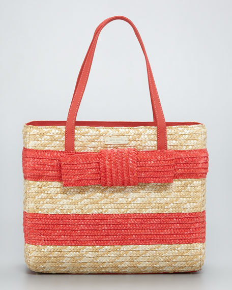 quinn striped straw bow tote