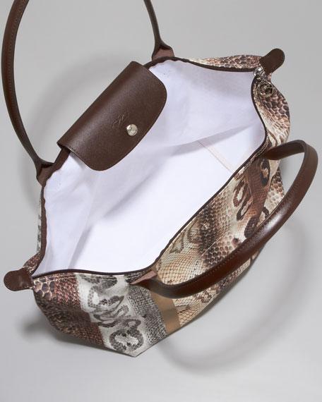 Snake-Print Shoulder Tote Bag, Large