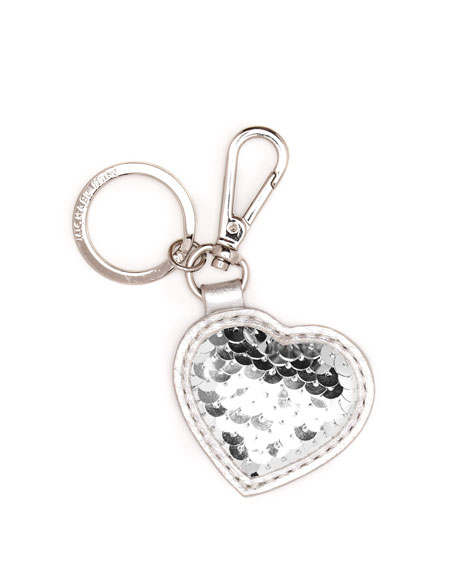 Sequin Heart Key Fob, Black or Silver