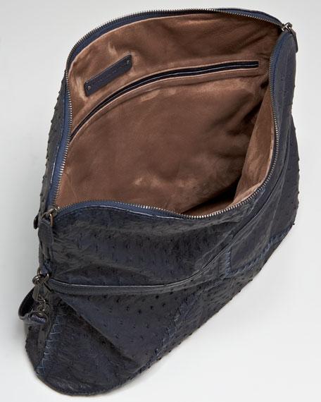 Fold-Over Ostrich Tote