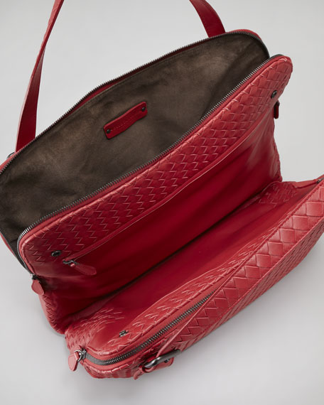 Woven Double-Compartment Shoulder Bag
