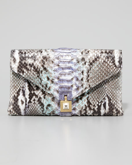 Zanna Python Envelope Clutch Bag