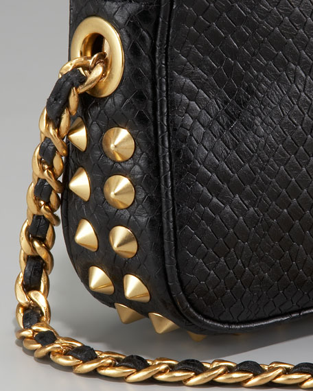 Jess Snake-Embossed Studded Shoulder Bag