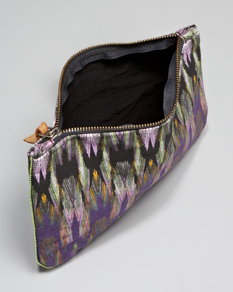 Printed Canvas Pouch, Purple