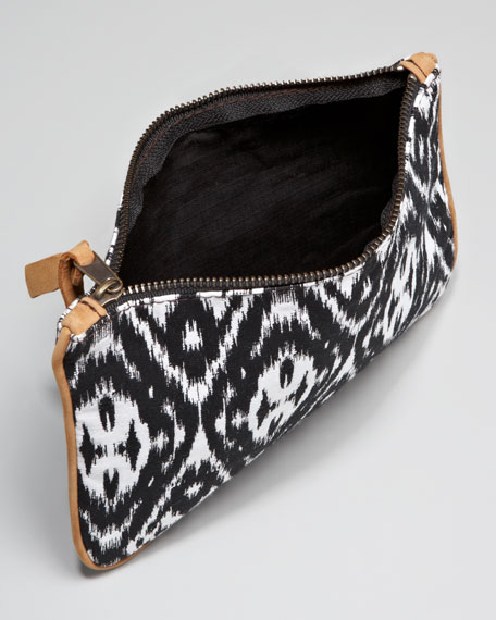 Printed Canvas Pouch, Black