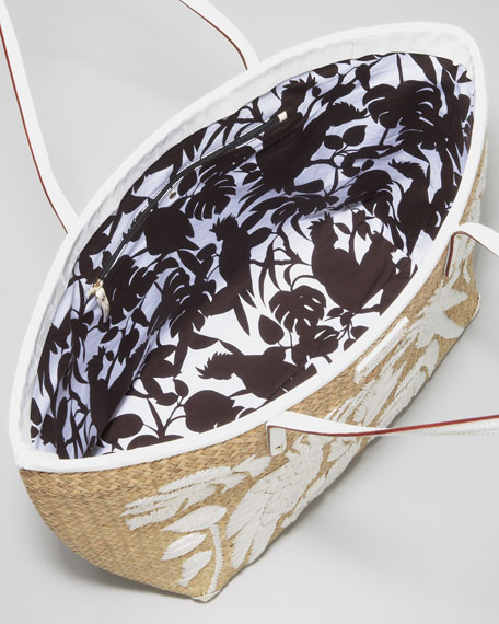 birds of paradise straw tote