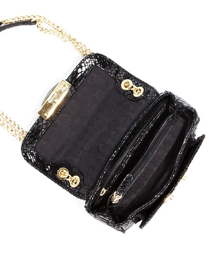 Sloan Small Python-Embossed Shoulder Bag, Black