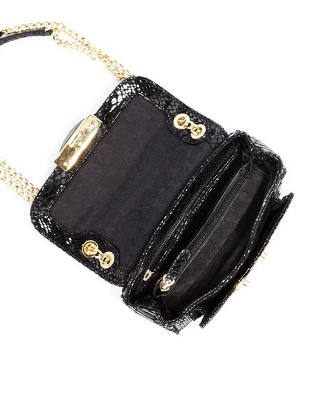 Sloan Small Python-Embossed Shoulder Bag, Black