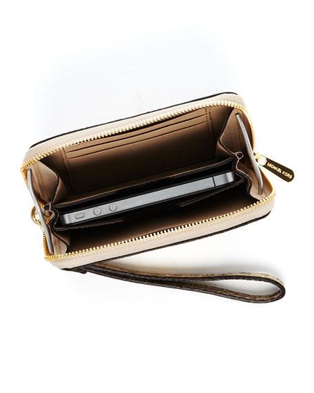 iPhone Python-Embossed Leather Zip Wallet, Angora
