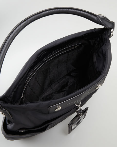 Preppy Nylon Hobo Bag, Black