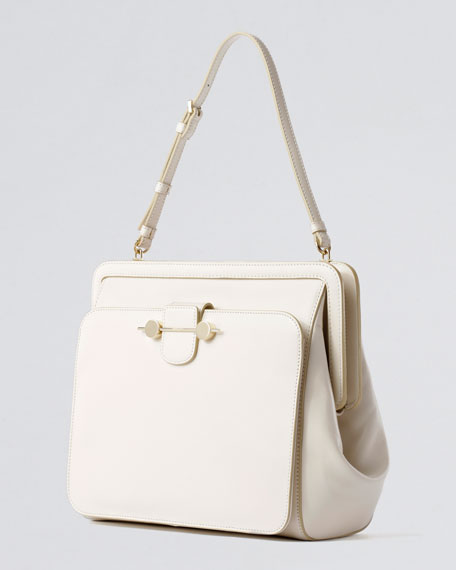 Daphne Satchel Bag, Ivory