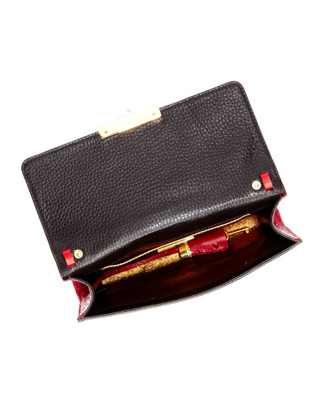Gia Ostrich-Embossed Leather Clutch Bag, Crimson