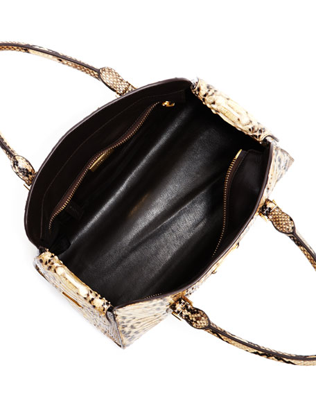 Gia Python Satchel Bag, Desert