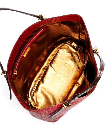 Gia Large Slouchy Tote Bag, Crimson