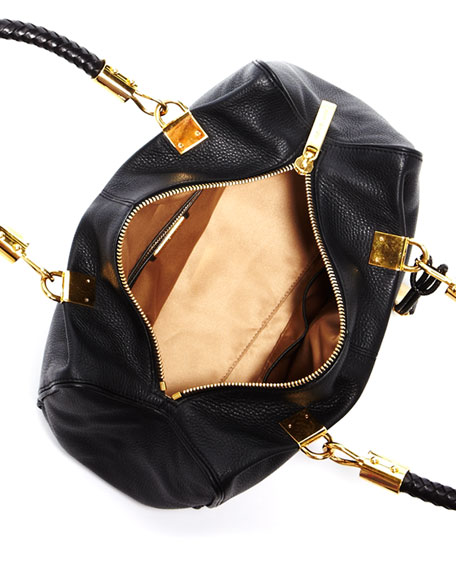 Skorpios Zip-Top Satchel Bag, Black