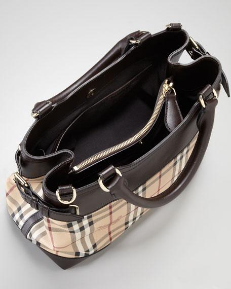 Leather-Trim Check Satchel Bag