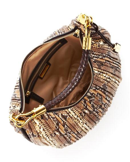Skorpios Python-Embossed Leather Crescent Hobo Bag, Desert