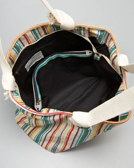 Striped Carryall Tote Bag