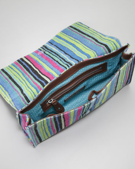 Striped Linen Clutch Bag