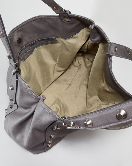 Faux-Leather Studded Slouchy Tote Bag