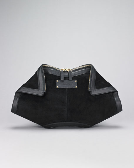 Suede De-Manta Clutch Bag
