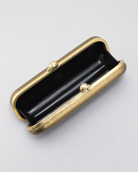 Metallic Twin Skull-Clasp Clutch Bag