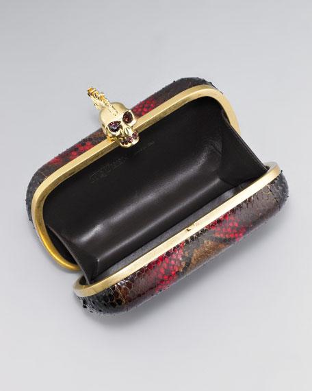 Python Skull-Clasp Clutch Bag