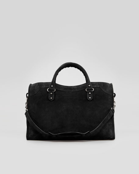 Baby Daim Suede Classic City Bag, Black