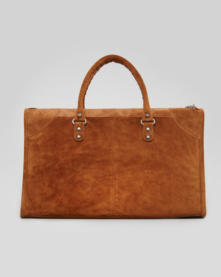 Baby Daim Suede Classic Work Bag, Chestnut