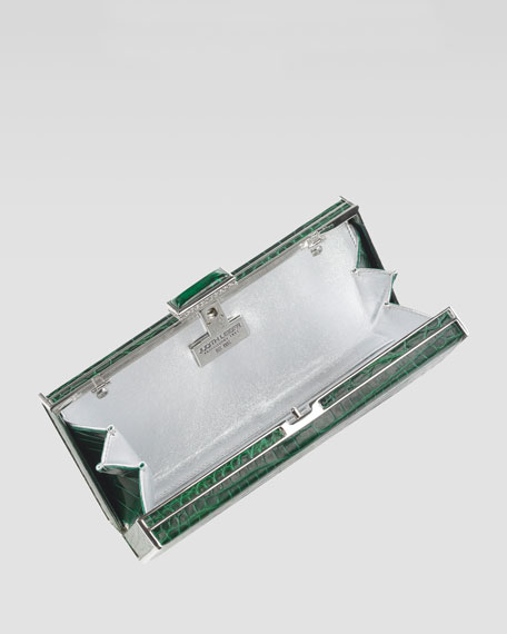 East-West Rectangle Clutch Bag, Emerald