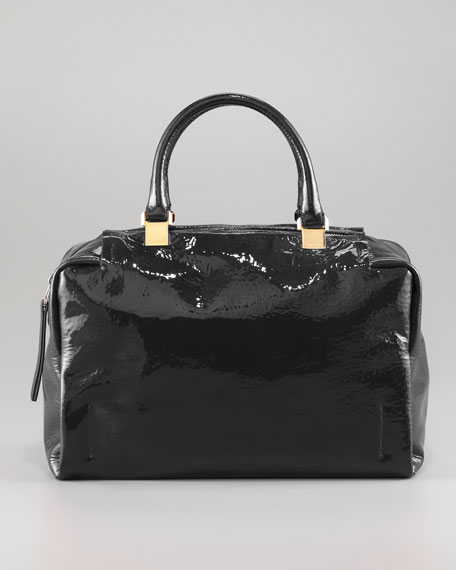 Moon River Patent Bowler Bag