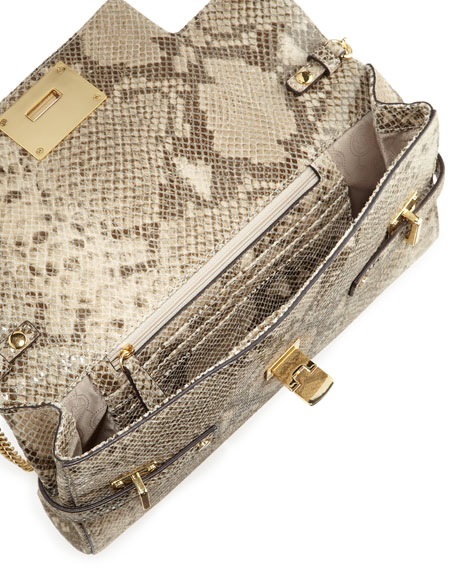 Extra-Large Astrid Python-Embossed Clutch Bag
