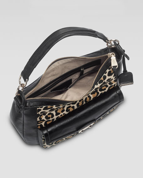 Zoe Leopard-Print Calf Hair Hobo Bag