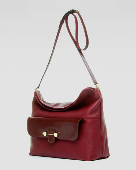 Daphne Crossbody Hobo Bag, Bordeaux