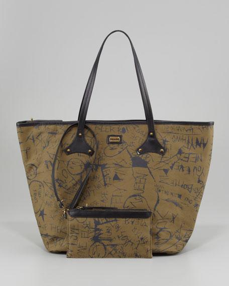 Graffiti-Print Canvas Tote Bag, Medium
