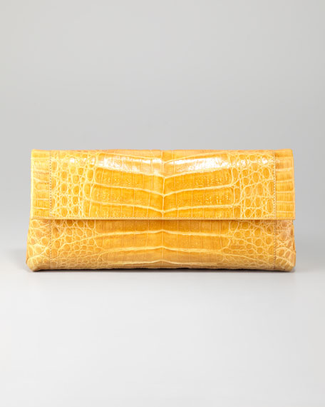 Crocodile Flap Clutch Bag, Large