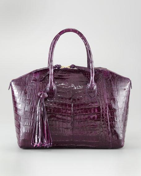 Tasseled Zip-Top Tote Bag