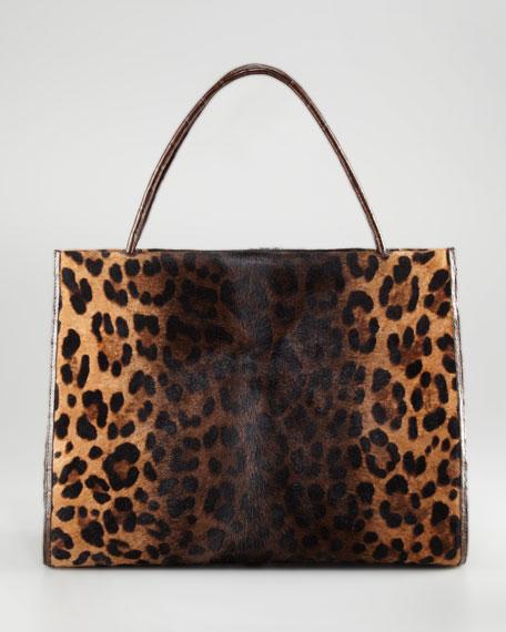 Leopard Print Calf Hair Croc Tote Bag