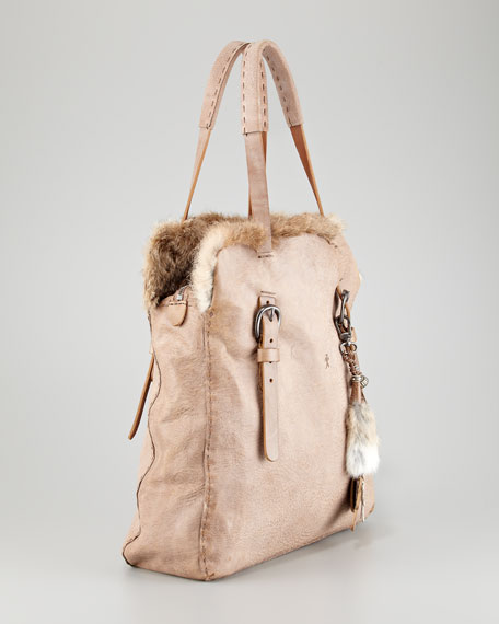 Fur-Trim Tote Bag with Key Chain