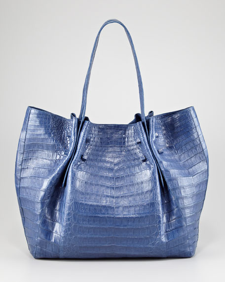 Gathered Crocodile Tote Bag